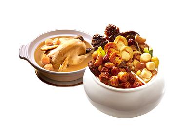鴛鴦鮑魚佛跳牆(無附甕)+干貝熬雞湯