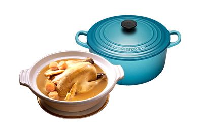 干貝熬雞湯+Le Creuset琺瑯鑄鐵鍋22cm(加勒比海藍)