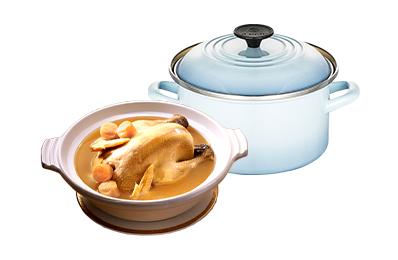干貝熬雞湯+Le Creuset琺瑯湯鍋20cm(海岸藍)