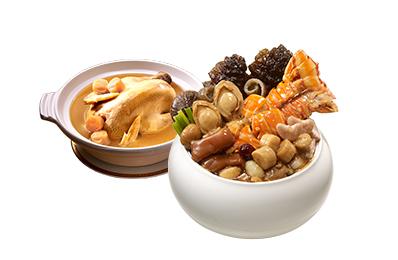龍蝦鮑魚干貝佛跳牆(無附甕)+干貝熬雞湯