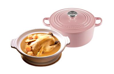 干貝熬雞湯+Le Creuset琺瑯鑄鐵鍋22cm(薔薇粉)
